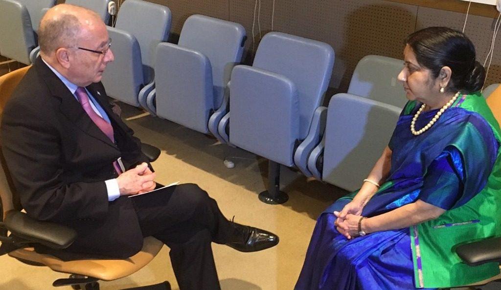 Argentina - India: El canciller Faurie se reunió con su par Sushma Swaraj en Nueva York @CancilleriaARG